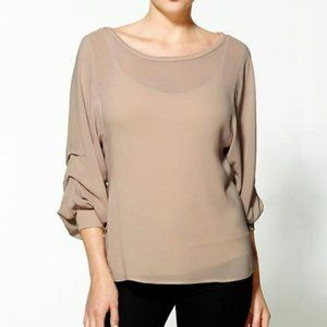 AG Adriano Goldschmied Gathered Sleeve Crepe Top